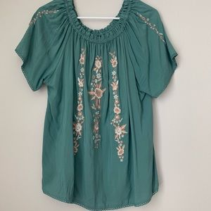 Green off the shoulder, floral embroidered top